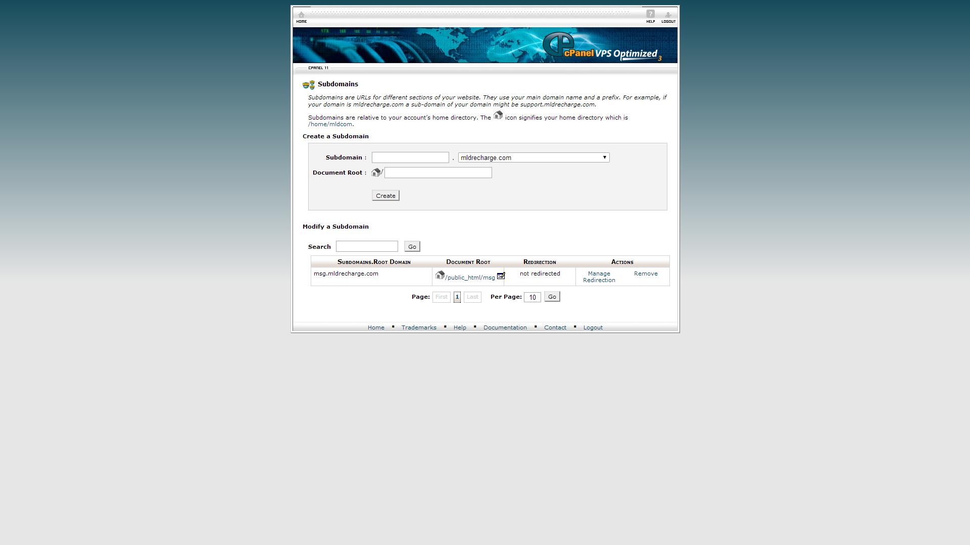 Name sub domain