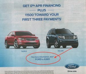 Send an SMS to Ford