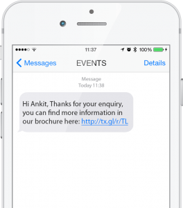 Personalized SMS example