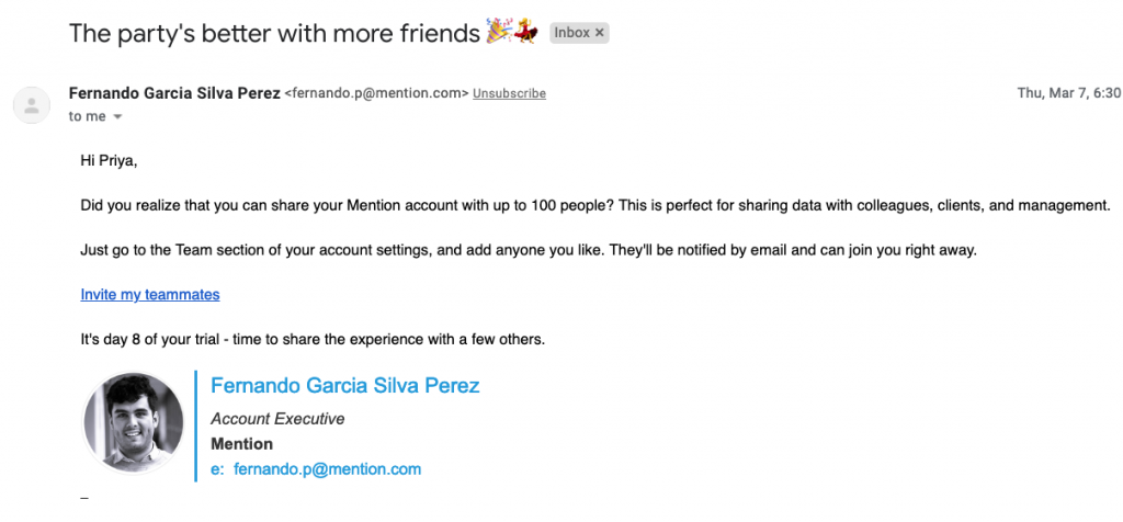 A friendly email example